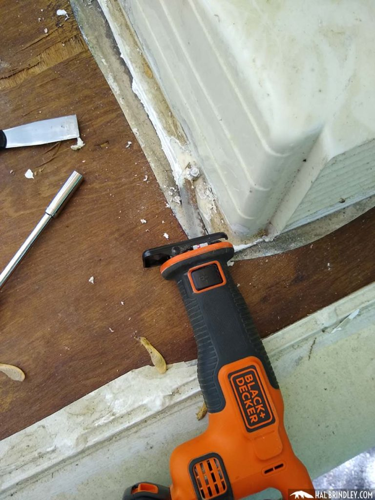 using a reciprocating saw to cut bolts