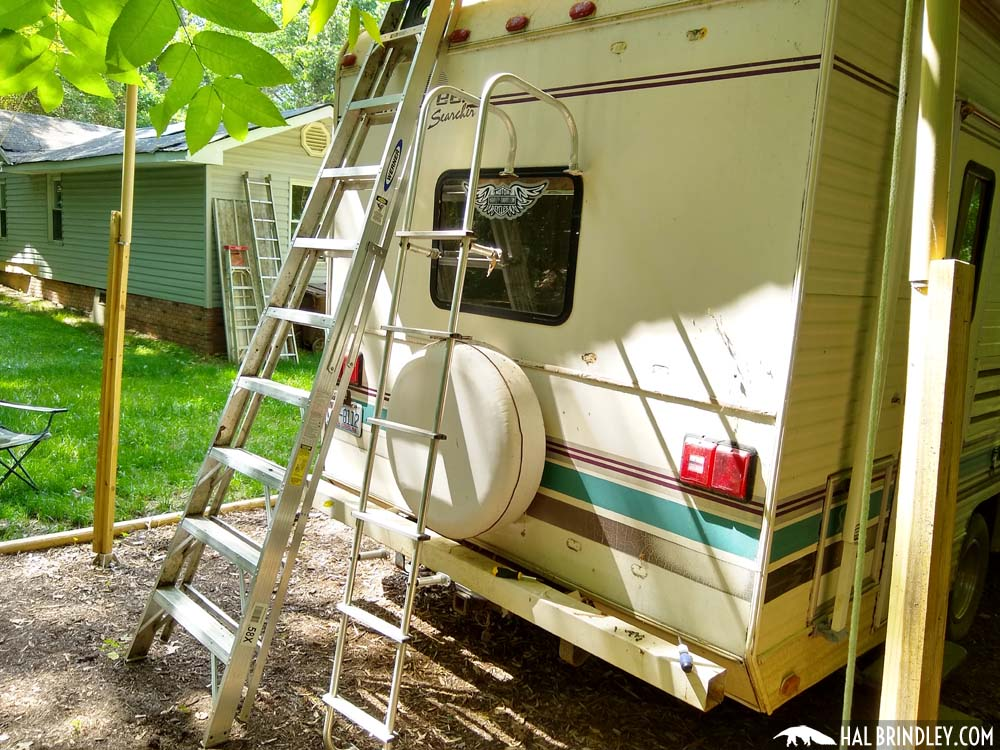 Aluminum ladder removed from the camper