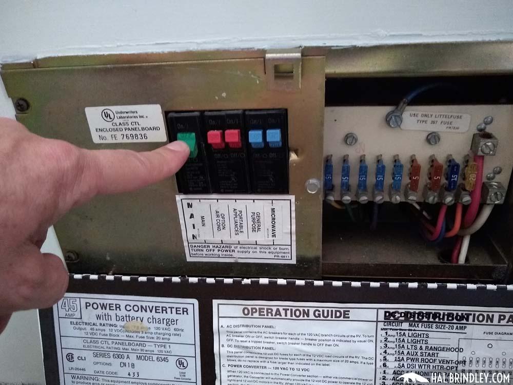 RV circuit breaker panel