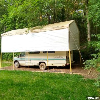 rv canopy with sidewalls
