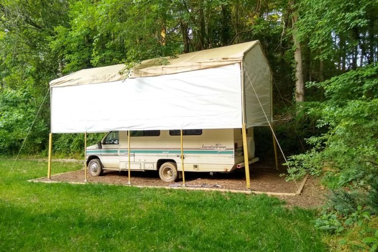 rv canopy with sidewalls